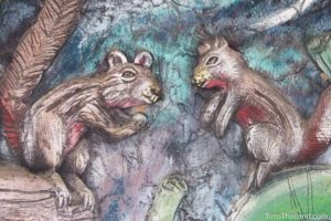 picture of squirrels on Wat Pho Nontan meditation hall