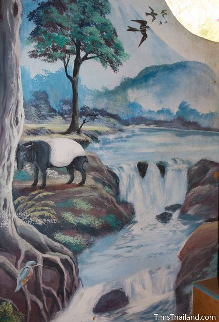 picture of tapir next to river on Wat Pho Nontan meditation hall