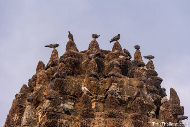 birds on top of north tower of Wat Phra Phai Luang Khmer ruin