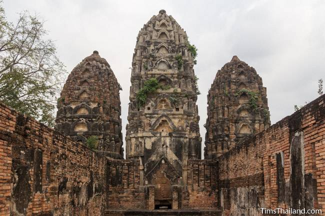 towers and central wihan at Wat Si Sawai Khmer ruin