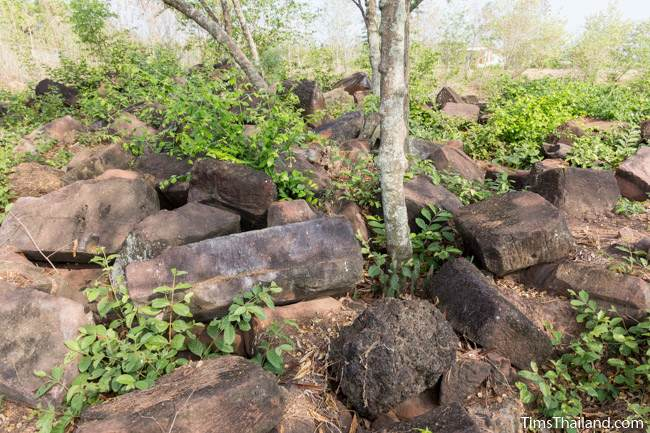 blocks of rubble at Prang Ban Tan Khmer ruin