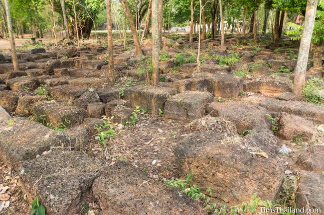 field of laterite blocks not used in the restoration of Prang Ku Ban Nong Faek Khmer ruin