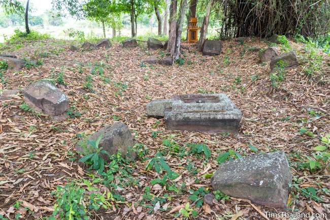 yoni and other blocks at Sop Namman Khmer ruin