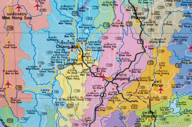close up shot of Thailand map showing Chiang Mai and around