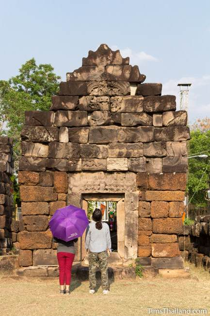 two women looking at library of Prang Ku Chaiyaphum Khmer ruin