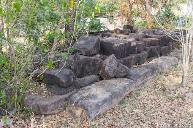 pile of unused sandstone blocks at Prang Ku Chaiyaphum Khmer ruin