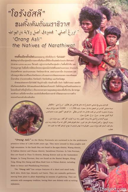 sign about semang people in Narathiwat City Museum