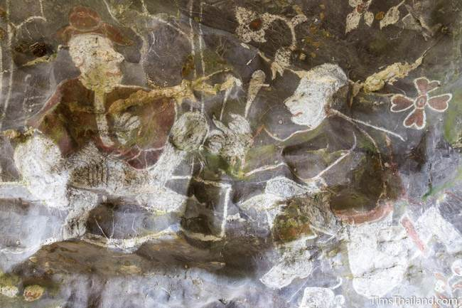 painting of Chinese men at Tham Sam cave