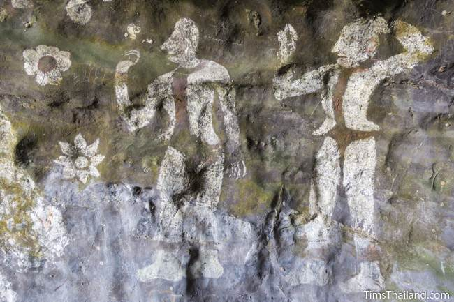 painting of two men at Tham Sam cave