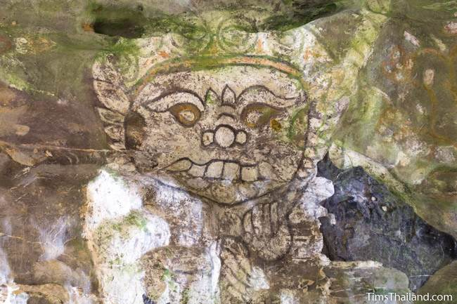 painting of yak guardian at Tham Sam cave