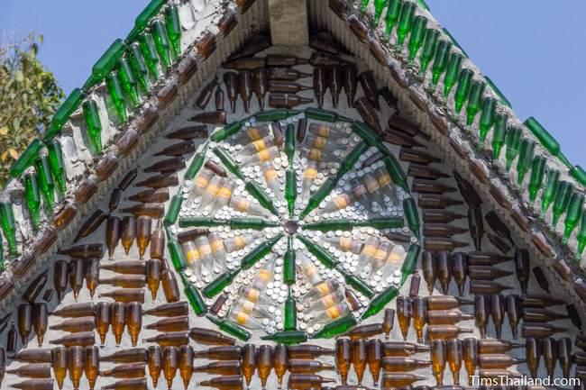 dharma wheel made of bottles at Wat Khuat bottle temple