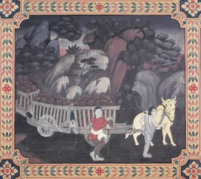 scene from the Nandivisala Jataka, the Bodhisatta as an ox pulling loaded carts