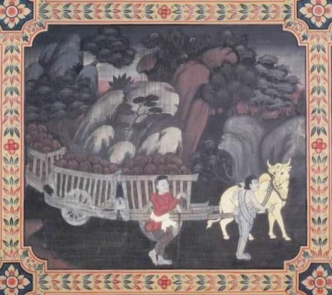 scene from the Nandivisala Jataka, the Bodhisatta as an ox pulling loaded carts