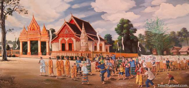 mural of modern temple at Ban Cheelon in Roi Et province