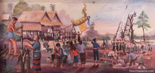 mural of Boon Bang Fai rocket festival tradition