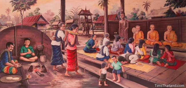 mural of Boon Khao Jee tradition