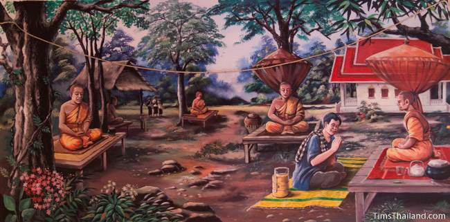 mural of Boon Khao Kam tradition
