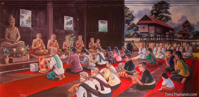 mural of Boon Khao Phansa tradition