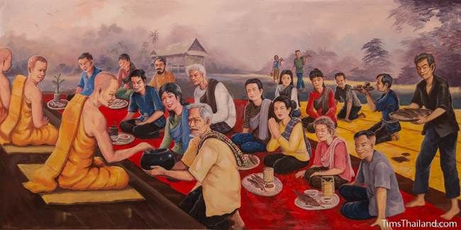 mural of Boon Khao Sak tradition