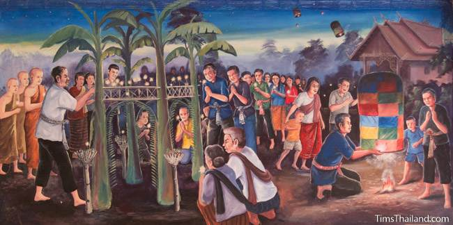 mural of Boon Ok Phansa tradition