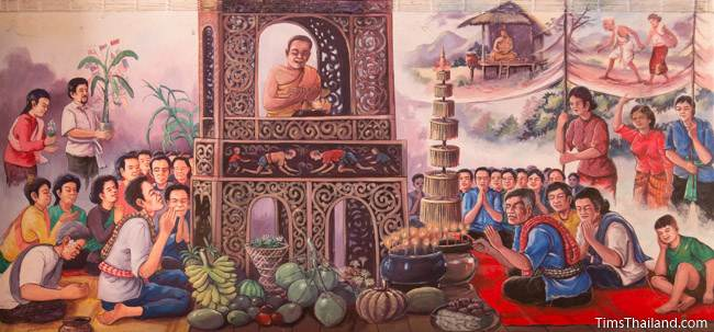 mural of Boon Pha Wet tradition