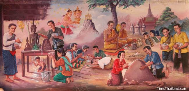 mural of Boon Songkran tradition