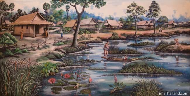 mural of Bueng Kaen Nakhon lake