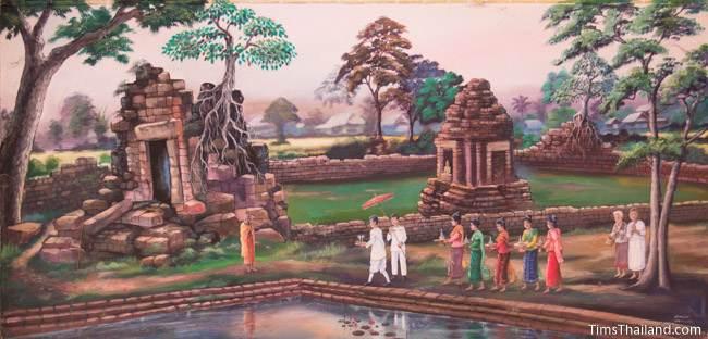 mural of Ku Prapachai Khmer ruin