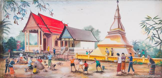 mural of Phra That Kham Kaen Buddhist temple