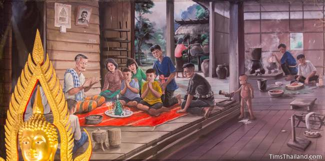 mural of phuk siow ceremony
