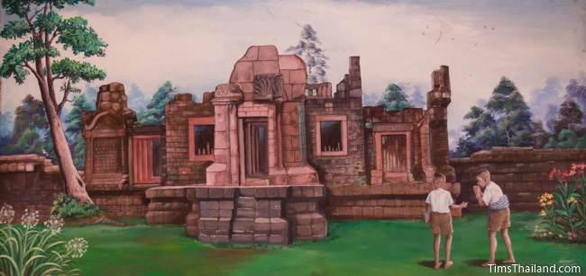 mural of Prasat Puay Noi Khmer ruin