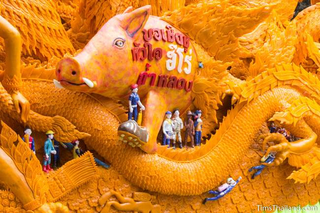 scene of the Tham Luang cave rescue on a Khao Phansa candle parade float