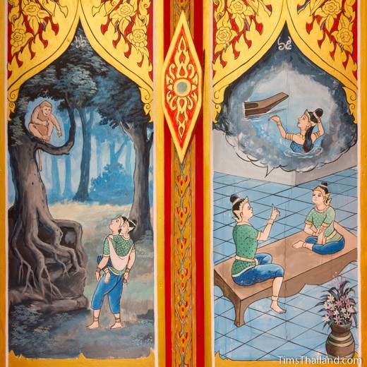 Nang Phom Hom story painted on window shutters at Wat Nong Wang