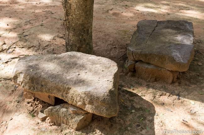 sandstone benches at Ku Kaew Chaiyaram Khmer ruin