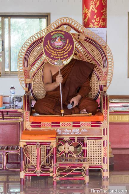 monk giving sermon during Ok Phansa