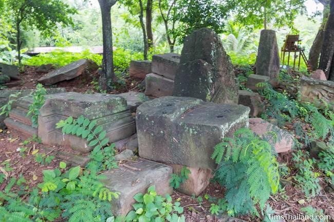 sandstone blocks and pediment tops at Prang Ban Prang Khmer ruin