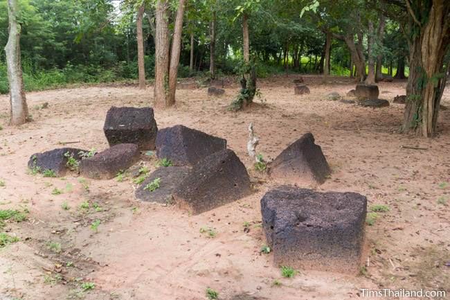 scattered laterite blocks at Prang Sra Pleng Khmer ruin