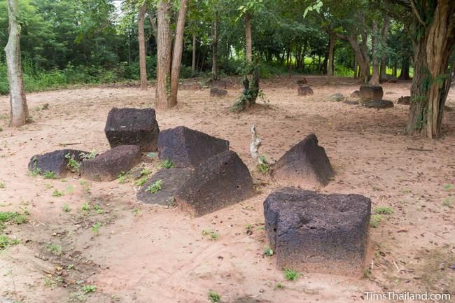 scattered laterite blocks at Prang Sra Pleng Khmer ruin