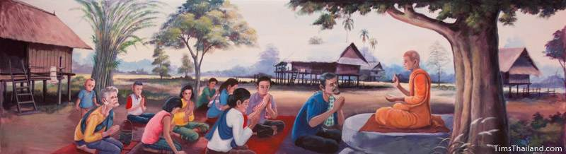 Vessantara Jataka mural of monk telling the story to villagers
