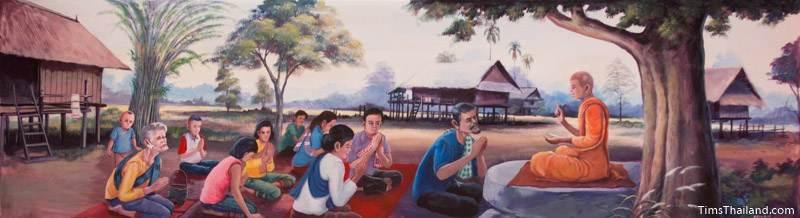 Vessantara Jataka mural of monk telling the story to villagers
