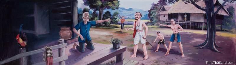 Vessantara Jataka mural of people attacking Jujaka