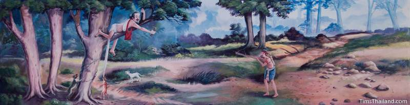 Vessantara Jataka mural of hunter aiming crossbow at Jujaka