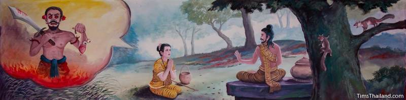 Vessantara Jataka mural of Prince Vessantara's wife telling him her dream
