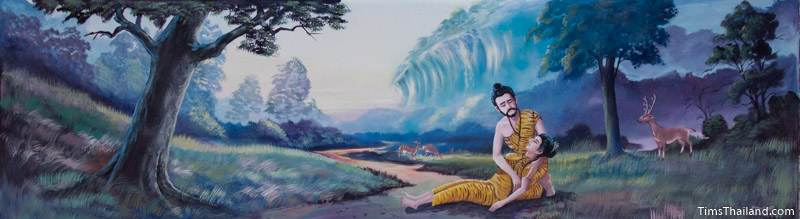 Vessantara Jataka mural of Prince Vessantara reviving his wife after she fainted