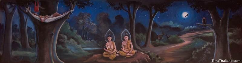 Vessantara Jataka mural of gods caring for Prince Vessantara's children while Jujaka sleeps in a tree