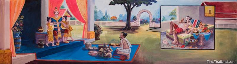 Vessantara Jataka mural of the king reunited with his grandchildren and Jujaka eating