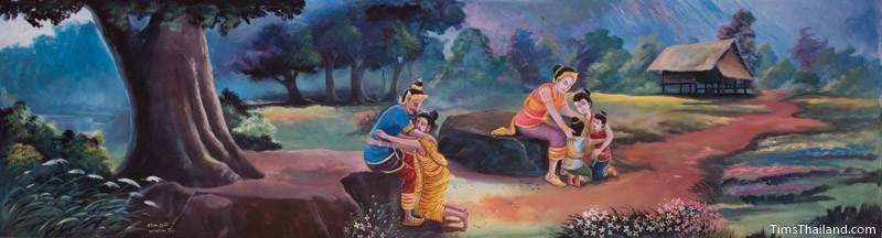 Vessantara Jataka mural of Prince Vessantara's family reunited