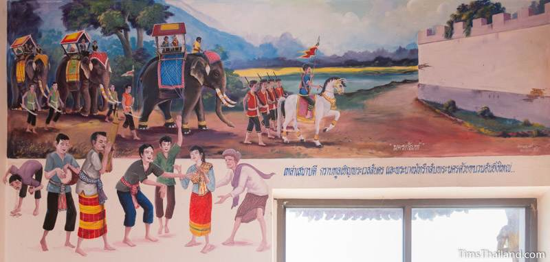 Vessantara Jataka mural of Prince Vessantara returning to the city and people celebrating