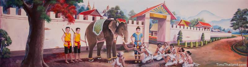 Vessantara Jataka mural of Prince Vessantara giving away his elephant