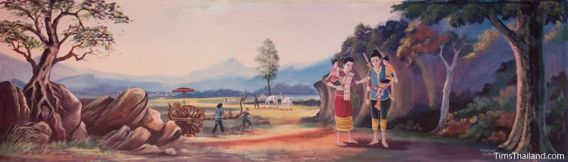 Vessantara Jataka mural of Prince Vessantara and family walking